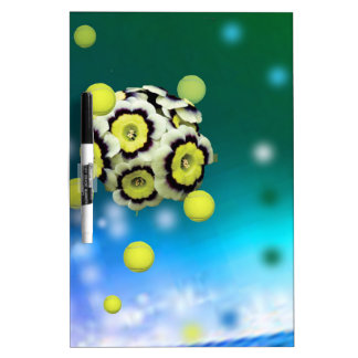 Flower and tennis balls flying on air. dry erase board