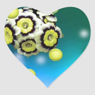 Flower and tennis balls flying on air. heart sticker