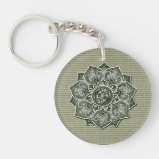 Flower Applique with Jacquard Material ANY COLOR Double-Sided Round Acrylic Key Ring