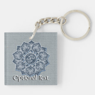Flower Applique with Jacquard Material ANY COLOR Double-Sided Square Acrylic Key Ring