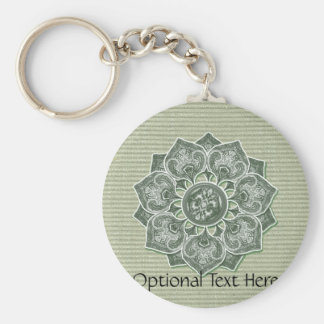 Flower Applique with Jacquard Material ANY COLOR Basic Round Button Key Ring