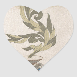 Flower Arrangement - Utagawa Itchinsai Heart Sticker