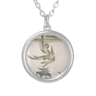 Flower Arrangement - Utagawa Itchinsai Silver Plated Necklace