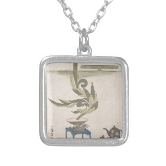 Flower Arrangement - Utagawa Itchinsai Silver Plated Necklace