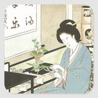 Flower Arranging and Tea Ceremony by Toyohara Square Sticker
