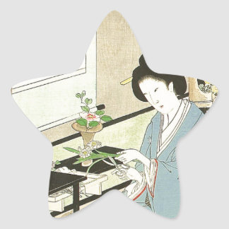 Flower Arranging and Tea Ceremony by Toyohara Star Sticker