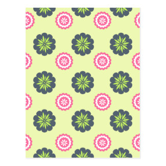 Flower Art Green And Pink Postcard