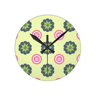 Flower Art Green And Pink Wall Clock