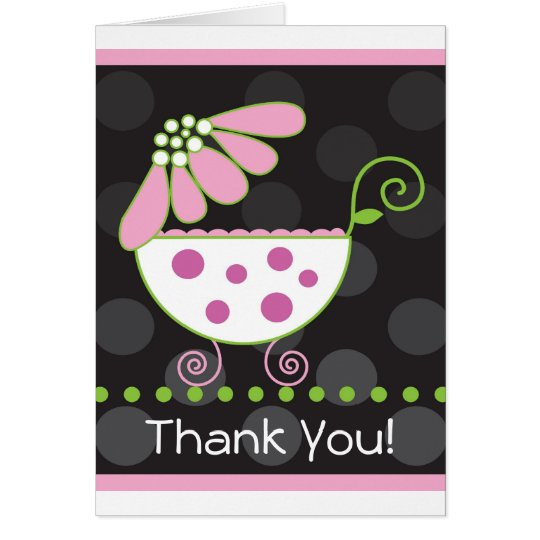 Flower Baby Carriage Thank You Card