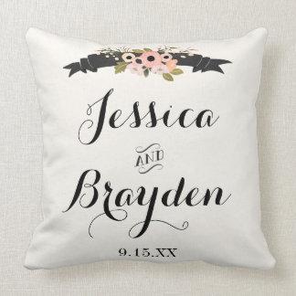 Flower Banner Throw Pillow