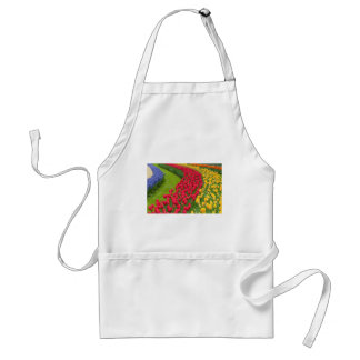 Flower beds of multicolored tulips standard apron