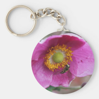 Flower & Bee Basic Round Button Key Ring