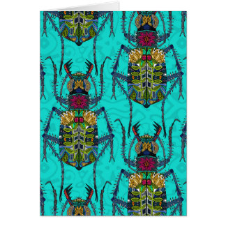 flower beetle turquoise card