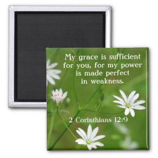 Flower bible verse 2 Corinthians 12:9 magnet