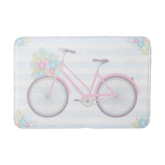 Flower Bicycle Cute Fun Hipster Pink Blue Bath Mat Bath Mats