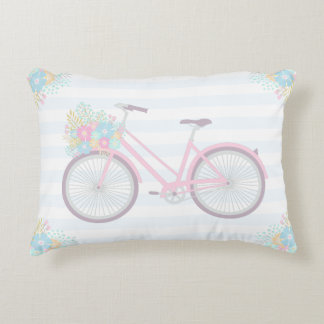 Flower Bicycle Cute Pastel Cozy Pillow
