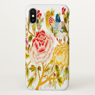 Flower bird embroidery iPhone x case