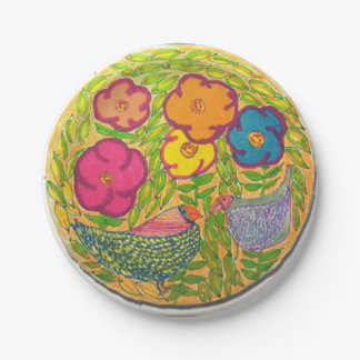Flower Birds Paper Plate