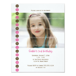 "Flower Birthday Invitation 4.25"" X 5.5"" Invitation Card"
