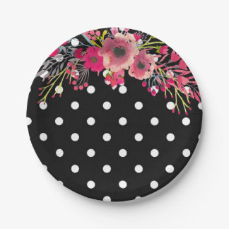 Flower black and white polka dot glamour fashion 7 inch paper plate