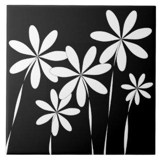 Flower Bliss2 Black & White Ceramic Tile