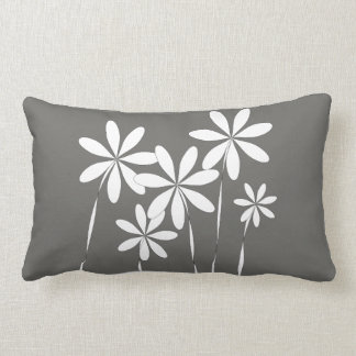 Flower Bliss on Charcoal Grey Lumbar Cushion