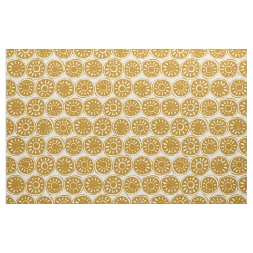 flower block gold ivory fabric
