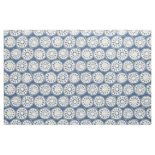flower block ivory blue fabric