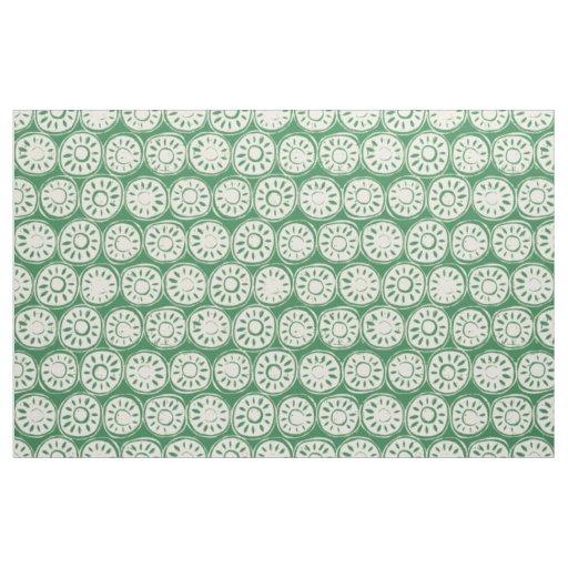 flower block ivory green fabric