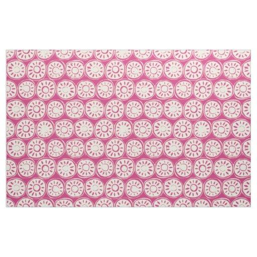 flower block ivory pink fabric