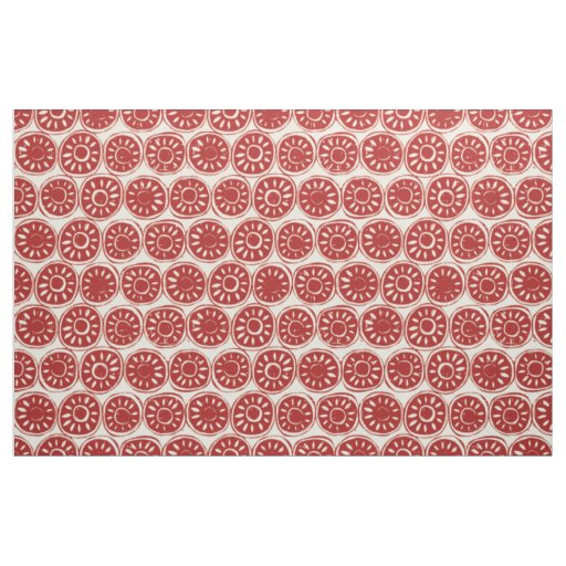 flower block red ivory fabric