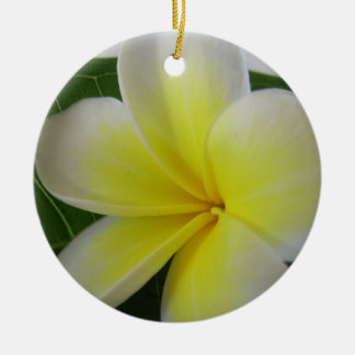 Flower Bloom Double-Sided Ceramic Round Christmas Ornament