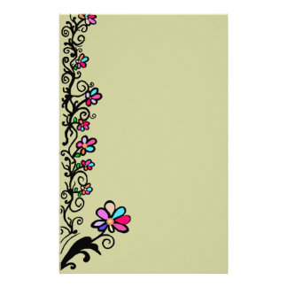 Flower Border Personalized Stationery