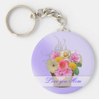 Flower Bouquet Collection Basic Round Button Key Ring