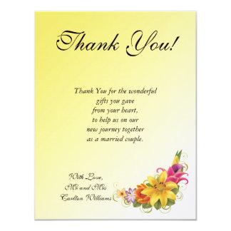 """Flower Bouquet Flat Wedding Thank You Card 4.25"""" X 5.5"""" Invitation Card"""