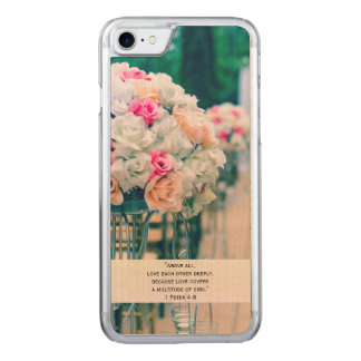 Flower Bouquet Love and Wedding Aisle Bible Verse Carved iPhone 8/7 Case