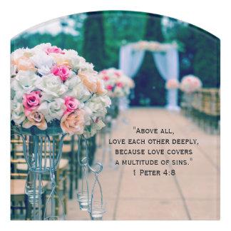 Flower Bouquet Love and Wedding Aisle Bible Verse Door Sign