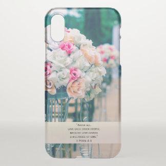 Flower Bouquet Love and Wedding Aisle Bible Verse iPhone X Case