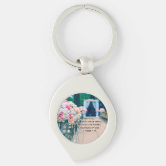 Flower Bouquet Love and Wedding Aisle Bible Verse Key Ring