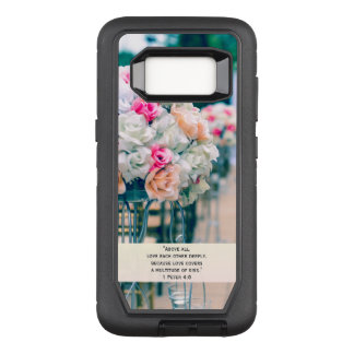 Flower Bouquet Love and Wedding Aisle Bible Verse OtterBox Defender Samsung Galaxy S8 Case