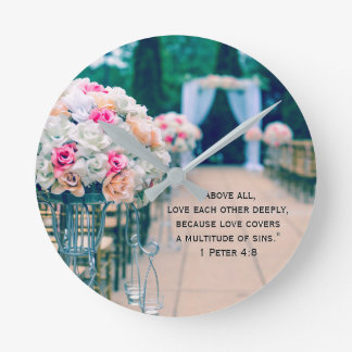Flower Bouquet Love and Wedding Aisle Bible Verse Round Clock