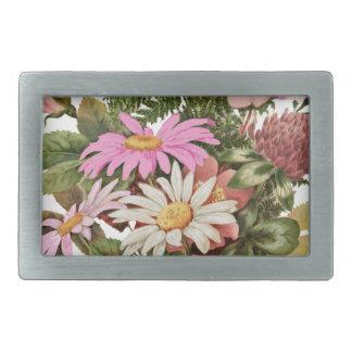 flower bouquet rectangular belt buckle