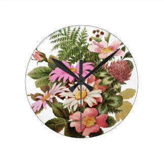 flower bouquet round clock
