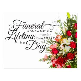 Flower bouquet script sympathy quote for funeral postcard