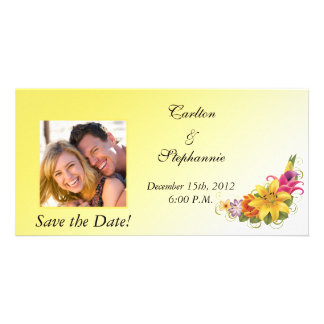 Flower Bouquet Wedding Photo Announcement Photo Card