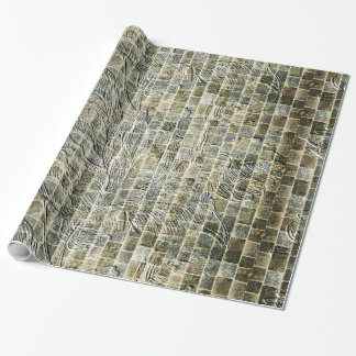 Flower Brick Wall Effect Wrapping Paper