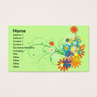 flower bunches of swirls vector business card