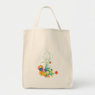 flower bunches of swirls vector grocery tote bag