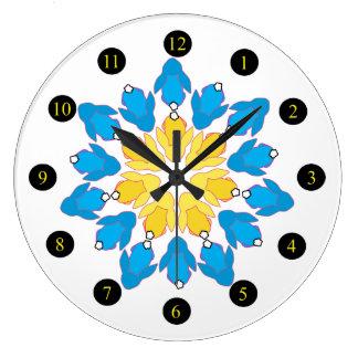 Flower Bunnies Large Clock