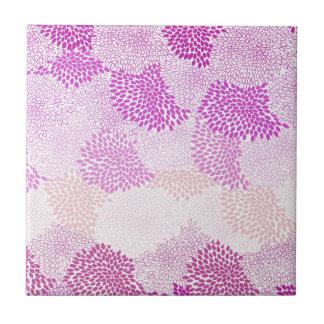 """Flower Burst"" Pink Small Square Tile"